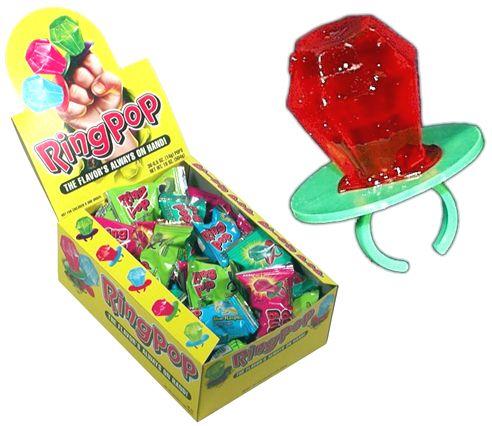I used to think Ring Pops were the best thing...kinda gross if i think about them now.