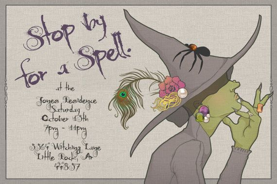 4x6 Halloween Witch Invitation PDF So cute for an adult Halloween party!