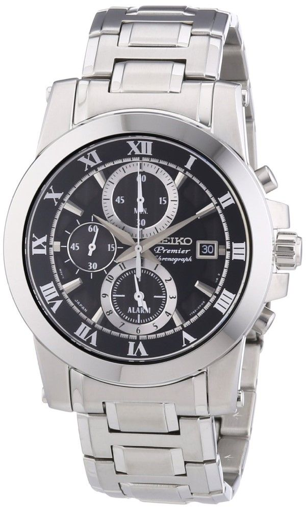 men watches | Seiko Men's SNAF31P1 Premier Alarm Chronograph Black Dial Stainless Steel Watch Top men watches