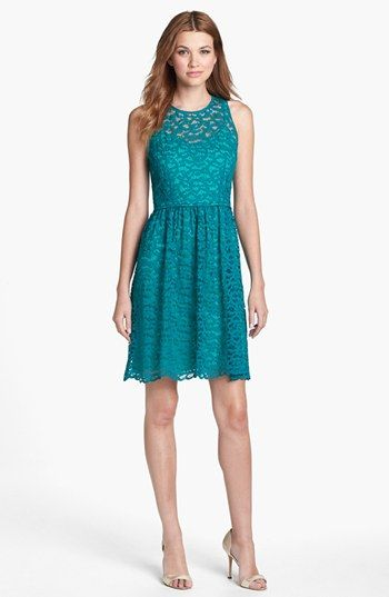 Donna Ricco Lace Fit & Flare Dress available at #Nordstrom Bridesmaids-needs a jacket. Says it's 39 1/2 inches long