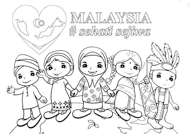Poster Mewarna Malaysia Sehati Sejiwa Photo Collage Template Flower Drawing Coloring Books