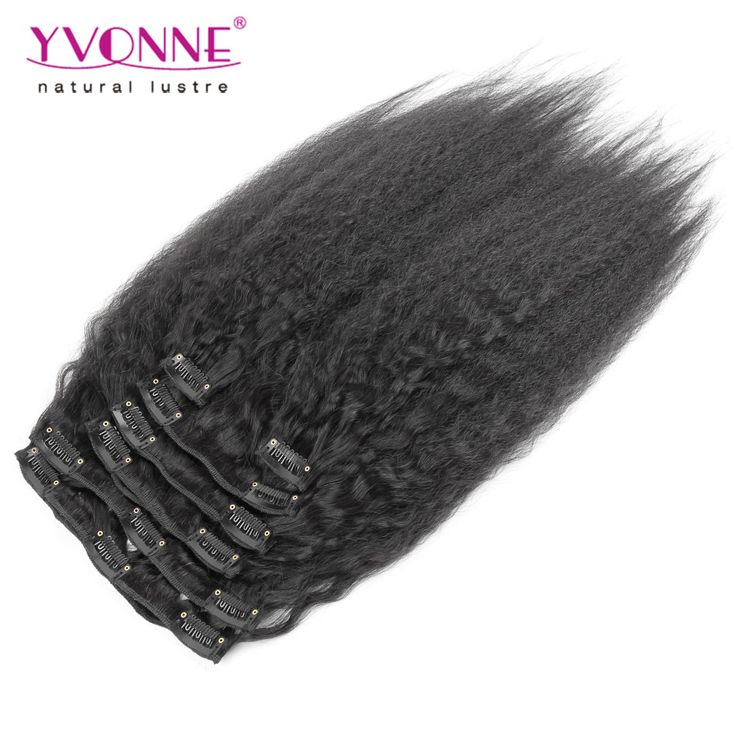 Yvonne Brazilian Virgin Kinky Straight Clip in Hair Extensions,100% Human Hair Yaki Clip In Extensions,7Pcs/set,Color 1B