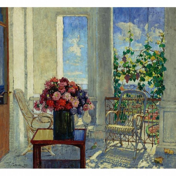 FLOWERS ON THE VERANDA KONSTANTIN IVANOVICH GORBATOV RUSSIAN, 1876-1945