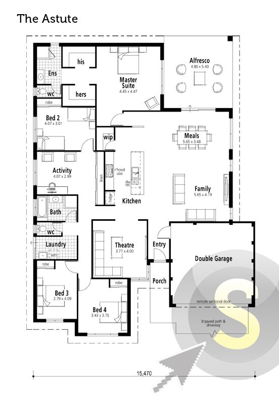 'The Astute' floorplan. 17m frontage. 4x2. Alfresco, theatre, activity room & his'n'hers walk-in robes in the rear master suite.    View Elevation: http://www.pinterest.com/pin/575264552374222004/    #houseplan #floorplan #smarthomesforliving