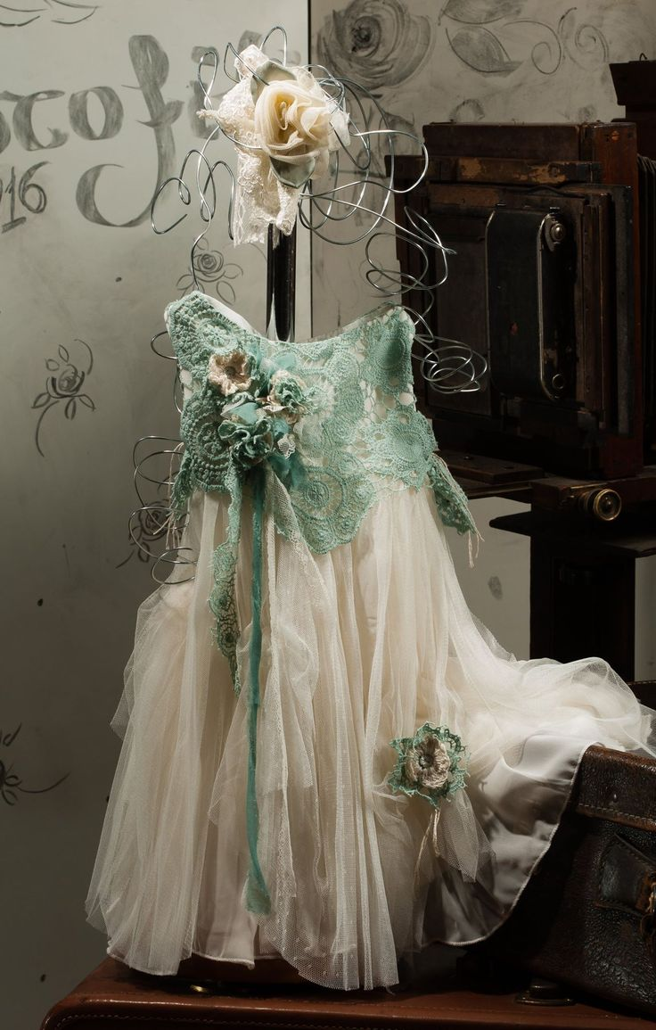 romantic, vintage inspired, handmade baptism dress, silk tulle, handmade crochet cotton lace, white, mint, handmade flowers