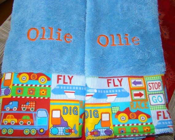RESERVED  2 Blue hand towels with vehicles by mustlovehomedecor, $16.00