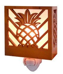 Hawaiian Tropical Night Light. Casts a warm glow with stylish designs. This night light will provide safety and a decorative touch throughout your home. Use in entry, hallway, bathroom, child's room,