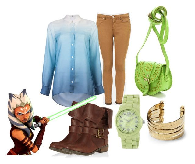 """Ahsoka Tano (Inspired)"" by wussupkid ❤ liked on Polyvore featuring Topshop, Acne Studios, Dorothy Perkins, Sprout Watches, Tano, Hive & Honey, Cleobella, clone wars, clothes and ahsoka tano"