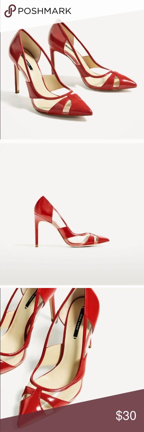 ZARA VINYL RED COURT HEEL SHOE Brand new,  size 5 Zara Shoes Heels
