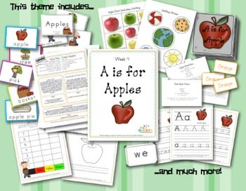 A is for Apple Themed Lesson Plans (one week) 49 pages. Edlah themed units are one week units that include many fun hands on theme based activities, recipes, sensory ideas, arts and crafts, fine/gross motor skill practice, journal ideas, printables (including easy reader books, word wall cards, sight word cards, and much more) and letter handwriting sheets in both block print or D'Nealian. (click the download button below the thumbnail pictures on the right)!