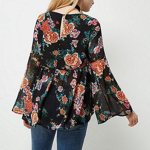 Zwarte blouse met bloemenprint - blouses - tops - dames