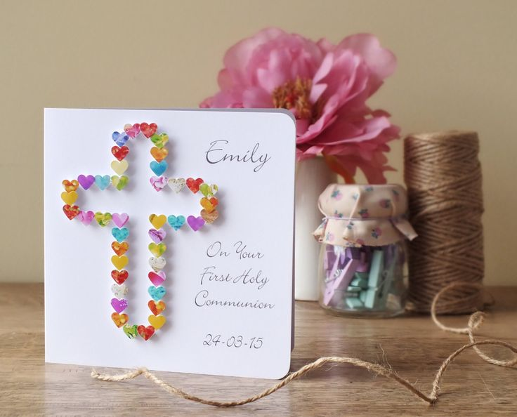 Handmade 3D First Holy Communion Card - Personalised First Holy Communion Card with Name and Date, CardsbyGaynor BHE20 by CardsbyGaynor on Etsy