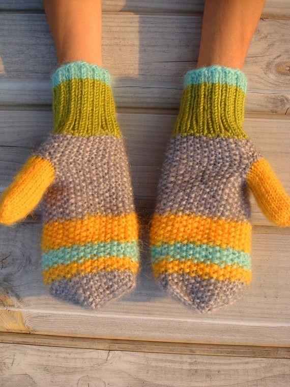 Knit Yellow Mittens Warm winter Gloves PINEAPPLE by RainbowMittens