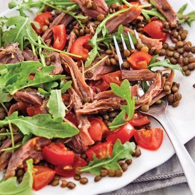 Salade tiède de lentilles, canard confit et roquette - Recettes - Cuisine et nutrition - Pratico Pratiques
