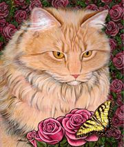 Charming Cats art, cat paintings by well-known Canadian painter Marilyn Barkhouse.