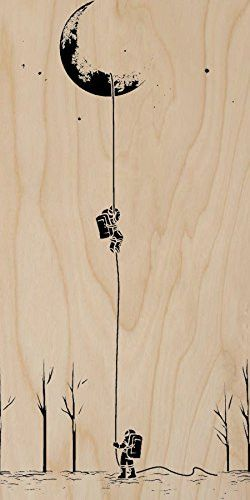 'Reach For The Moon' Astronauts Climbing Rope Into Space - Plywood Wood Print Poster Wall Art