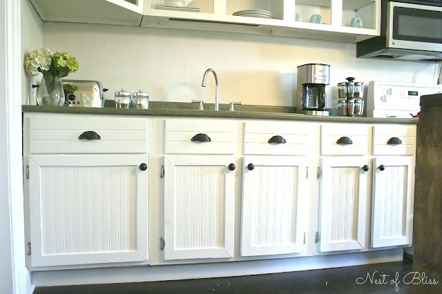 Cabinet Makeover Tutorial with Bead Board Wallpaper!!! Great solution for a small budget with big results!