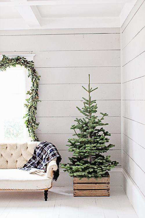 En vacker julgran i en trälåda är ett enkelt s…