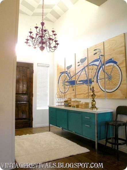 Hip hallway...and a Chevron Ceiling.: Wall Art, Home Tours, Paintings Ceilings, Tandem Bike, Vintage Revival, Bicycles Art, Bike Art, Houses Tours, Summer Houses