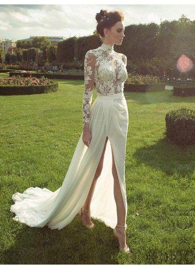 Heißer Verkauf Weibliche Brautkleid Mit Ärmeln, Spitze Brautkleid, Stehkragen Brautkleid, Hochzeitskleid