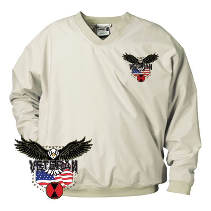 Whether you're playing the back 9 or enjoying a nice fall day out and about the 7th Infantry Division w/Eagle Microfiber Wind Shirt is a must for every veteran. Made from 100% sanded microfiber polyester, this shirt is both wind and water resistant. Side seam pockets and spandex reinforced rib-knit neck, cuffs, and waistband give this shirt a great fit and feel!