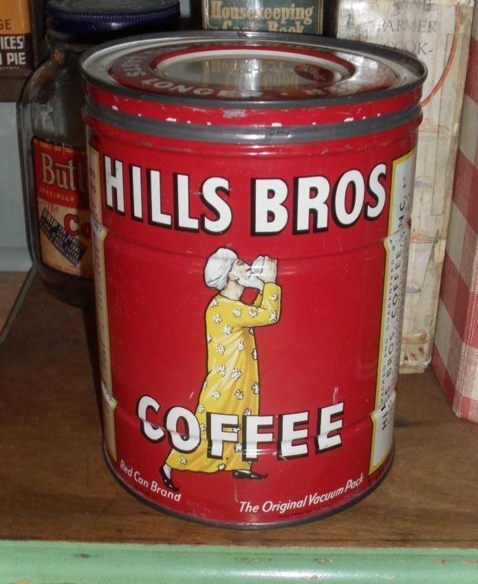 Hills Bros. Coffee Tin - c. 1920 2 lb. Keywind #ohiosattic #primitives #advertising