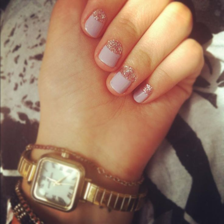 glitter halfmoon nails howto fashion pinterest