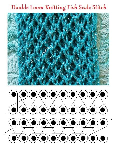 Double loom knitting fish scale stitch.