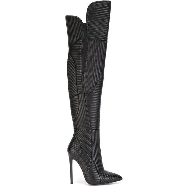 Gianni Renzi Ribbed Thigh High Boots ($1,060) ❤ liked on Polyvore featuring shoes, boots, black, genuine leather boots, leather thigh boots, over the knee boots, black boots and thigh boots