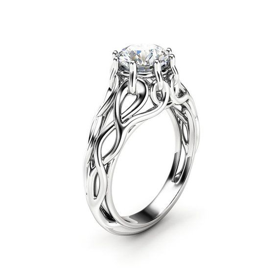 Celtic Engagement Ring 14k White Gold Braided Ring Solitaire