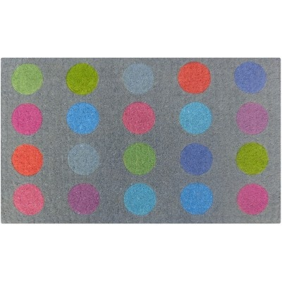 Color spots doormat from Interiors Online. A bright burst of color to greet you as you cross the threshold.