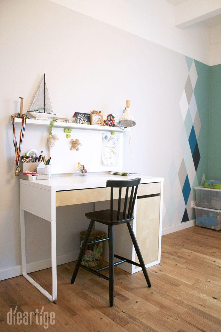 dieartigeblog wandgestaltung rauten in blau und graut nen graue wand schreibtisch micke. Black Bedroom Furniture Sets. Home Design Ideas