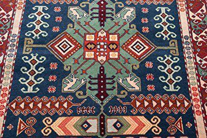 schewan, pezzo unico opere d' arte Tappeto Orientale Annodato a mano per soggiorno corridoio camera da letto, 100% lana vergine, 103 x 145 cm, Rosso: Amazon.it: Casa e cucina