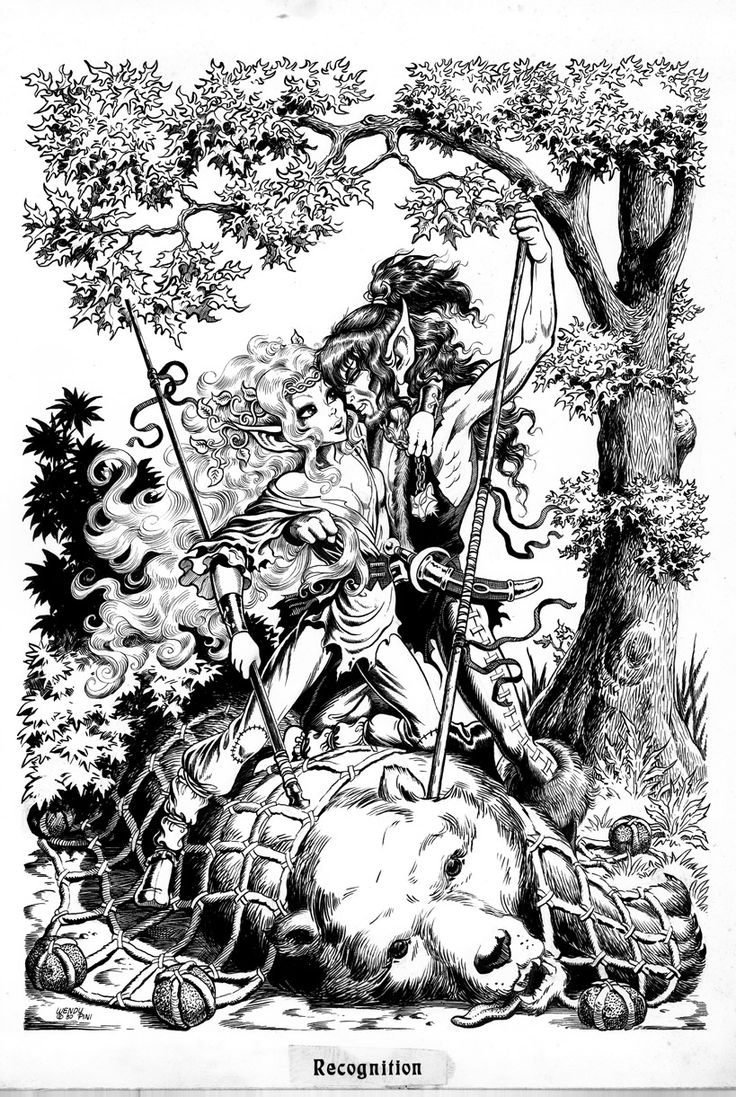 Book Cover Drawing Quest ~ Joyleaf and bearclaw by wendy pini elfquest pinterest