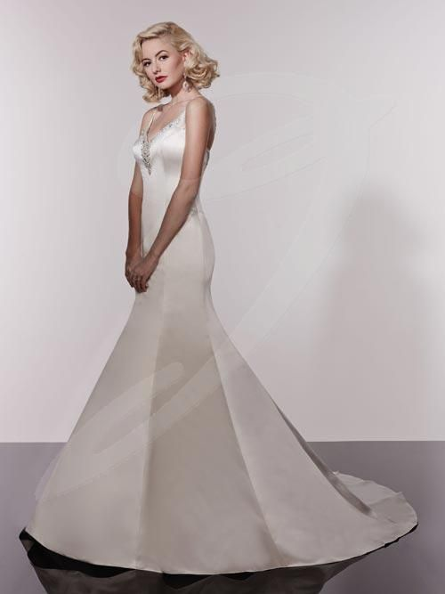 Balletts Bridal - 20571 - Wedding Gown by Jacquelin Bridals Canada - Beaded Spaghetti Strap Beaded neckline that follows through to the back. Low zipper back. Paneled gown. Chapel train.