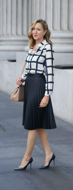 navy and white windowpane blouse, navy pleated midi skirt, navy patent pointed toe pumps, nude satchel handbag + curled hairstyle {zara, jimmy choo, dolce&gabbana}