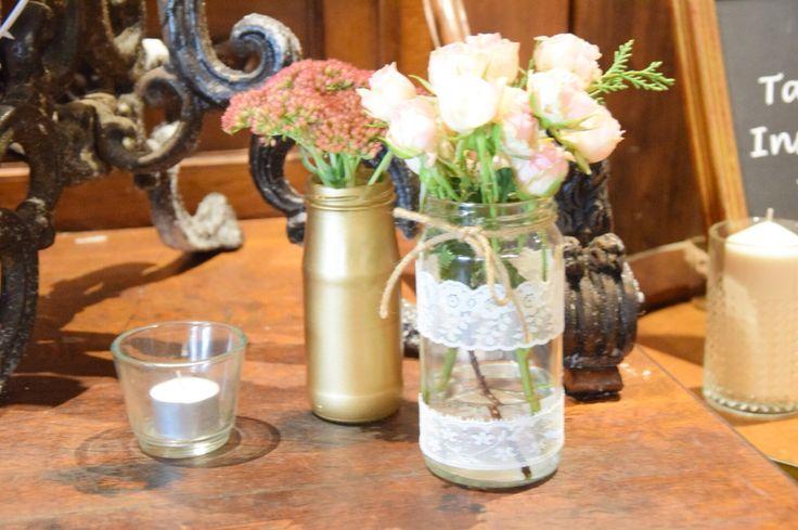 Handmade jars/lace/twine/gold paint/rustic/chic/vintage/wedding/roses/flowers