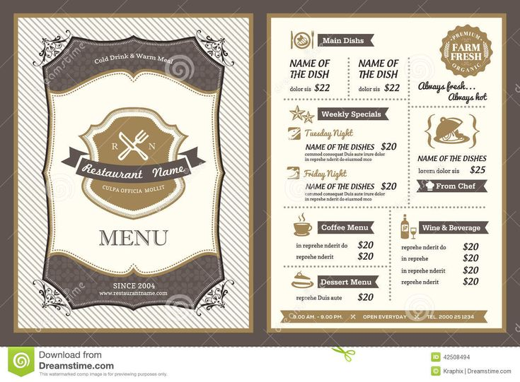 58 best Menu Design images on Pinterest Menu layout, Restaurant - cafe menu templates free download