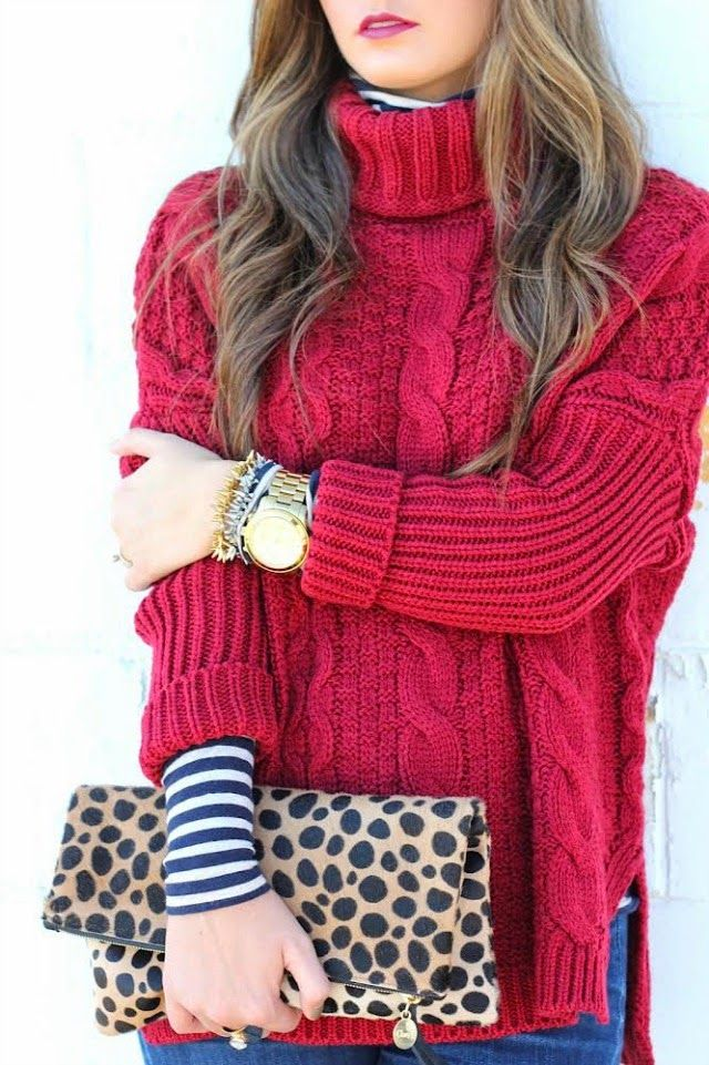 How to Style a Chunky Knit Sweater - chunky red turtleneck sweater over a stripe shirt + leopard clutch | StyleCaster