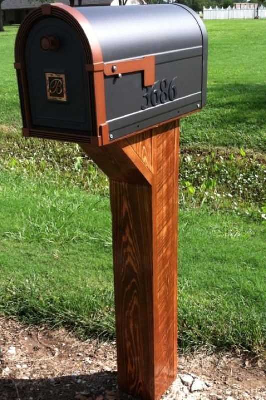 Sweet Cypress Mailbox Post! Couldn't find a mailbox post we liked so we made our own! Used rough cut Cypress to build this bad boy. Came out great after Stain and Poly coat:-) BBatts