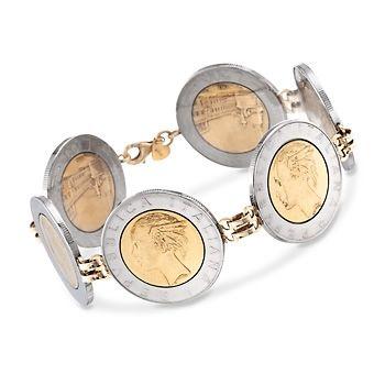 "Italian Lira Coin Bracelet in 14kt Yellow Gold. 8"""