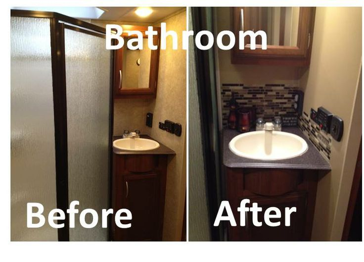 Rv remodel bathroom remodel peel and stick tiles toy for Travel trailer bathroom ideas