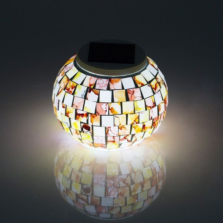 fendior waterproof solar powered mosaic glass ball color changing outdoor garden patio led light for parties 512 inch in diameter