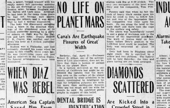 1911 No Life on Planet Mars, Canals are Earthquake Fissures of Great Width, The Evening standard. (Ogden City, Utah) April 21, 1911, Image 1