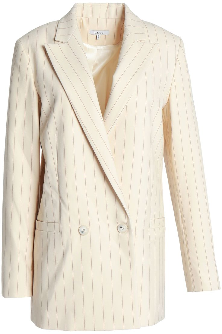 Double-breasted pinstriped cady blazer | GANNI | Sale up to 70% off | THE OUTNET