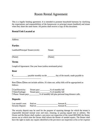 Room Rental Agreement Template Free Download, Create, Edit, Fill - room rental agreements