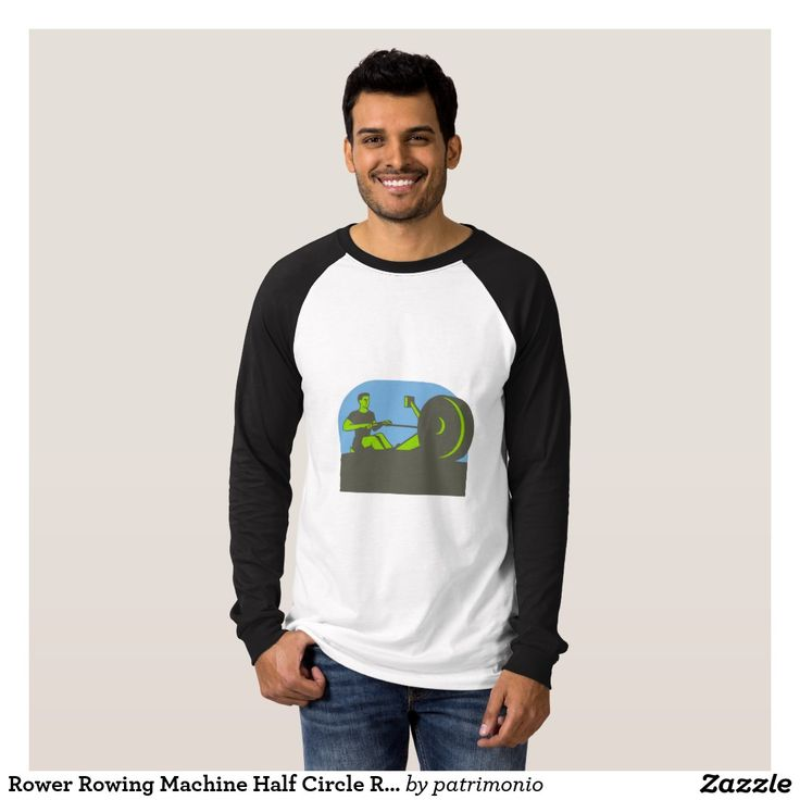 Rower Rowing Machine Half Circle Retro T Shirt. 2016 Rio Summer Olympics men's long sleeve shirt with an illustration of a rower exercising on a rowing machine viewed from front set inside a half circle done in retro style. #rowing #olympics #sports #summergames #rio2016 #olympics2016