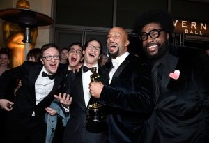 Akiva Schaffer , Andy Samberg, Common, winner of Best Original Song for Glory and Questlove at the Governors Ball