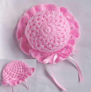 Pretty Pink Baby Hat free crochet graph pattern