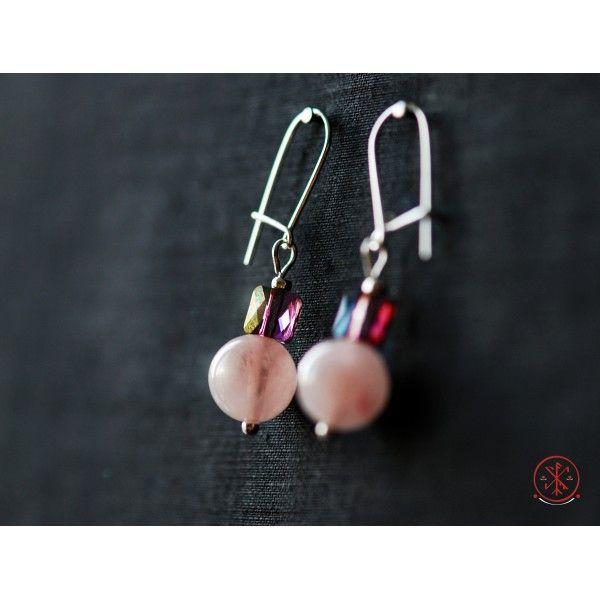Rose quartz earrings with Swarovski beads